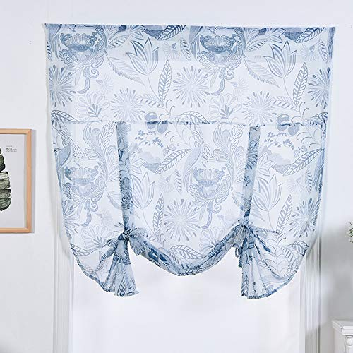 ToDIDAF Gedruckter Römischer Vorhang, Floral Sheer Voile Volants, Liftable Rod, Dekoration für Zuhause/Wohnzimmer/Schlafzimmer/Küche/Bad, 116 x 160 cm (Volant Vorhänge Für Das Bad)