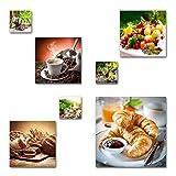 Küchen Bilder Set, 7-teiliges Bilder-Set, moderne seidenmatte Optik auf Forex, frei positionierbare schwebende Anbringung, UV-stabil, wasserfest, Kunstdruck für Büro, Wohnzimmer, XXL Deko Bilder