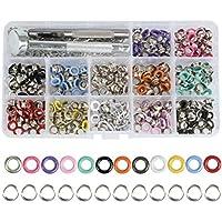 OFNMY 360pcs Kit de 5mm Ojales Metalicos de Metal Artesanía Multicolores para Zapatos/Sombreros/Cazadora/Cinturones/Ropa/Bolsos/DIY,etc
