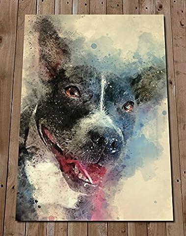 STAFFORDSHIRE BULL TERRIER Wall Art Print Poster - Staffie Wall Decor - Staffy Painting Portrait - Animals - Pet Art - Dog