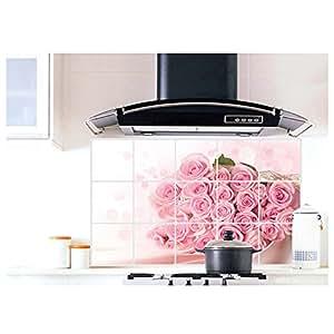 Anself Rosa Romantico bella rosa fiore Adesivo per la cucina della decorazione di arte Olio Grasso scarico Sticker Proof 75 * 45cm