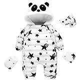 LANOMI Baby Junge Mädchen Strampler Overall Winter Daunenanzug Schneeanzug Reißverschluss Mantel Jacke mit Panda Kapuze Handschuhen Fußsäck (Etikett 90 Für Körpergröße 80-88cm, Weiß Baby Anzug)