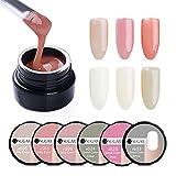 CoulorButtons, 6Boxen, UR SUGAR Farbe Nude URS semi-transparent Nail Tipps Builder Gel Nagel-Klebstoff Nailart UV Builder Gel-Nagellack