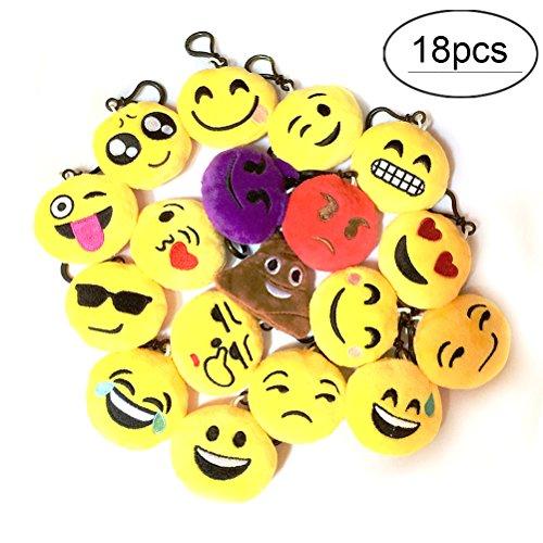 FRISTONE 18Pack Emoji Mini Schlüsselbund Plüsch Neuheit Schlüsselringe Dekorationen Geschenke Kids Party Supplies