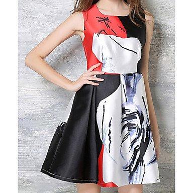 PU&PU Robe Aux femmes Trapèze Simple,Imprimé Col Carré Au dessus du genou Polyester WHITE-L