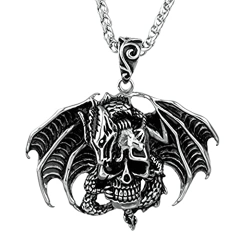 Epinki Fashion Jewelry Stainless Steel Men Dragon Skull with Red/Black Eyes Pendant Necklace Silver