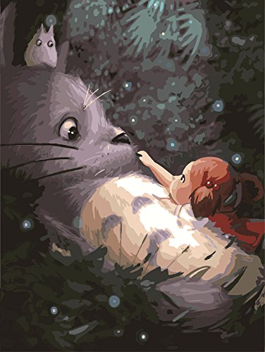 16 In Leinwand (Malen nach Zahlen für Erwachsene digitales Ölgemälde Malen nach Zahlen Kits Mein Nachbar Totoro Muster 20 * 16 Zoll Leinwand für Geburtstags- Weihnachtsgeschenk,Heim Wohnzimmer Büro Schule Decor (Ohne Rahmen))