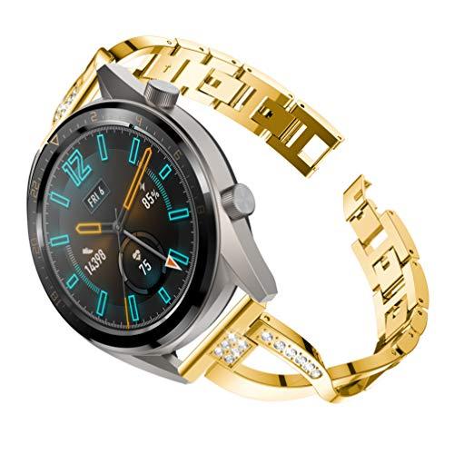YuStar Ersatz-Armband für Huawei Watch GT, 22 mm, Edelstahl, Metallbohrer, für Damen M Gold