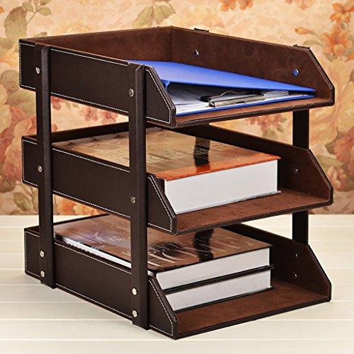 Neuer Stil Multifunktions-Leder-Magazin-Halter-Datei-Rack, Bücherregal, Office Storage Desktop-Regal-Datei Teiler Kabinett Document Tray Organizer Box. ( Farbe : Brown , größe : 27.5*36.5*35cm ) (Brown-leder-bücherregal)