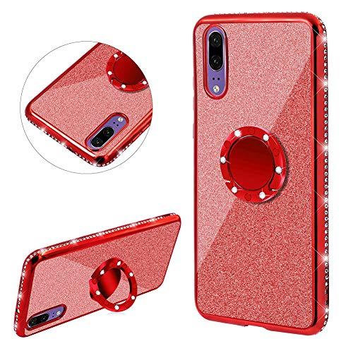 DasKAn Diamant Glitzer Durchsichtig Silikon Hülle für Huawei P20 Lite mit Ringhalter, Bling Strass Überzug Rahmen Ultra Dünn Gummi Kristall Klar Rückseite Handy Tasche TPU Schutzhülle,Rot