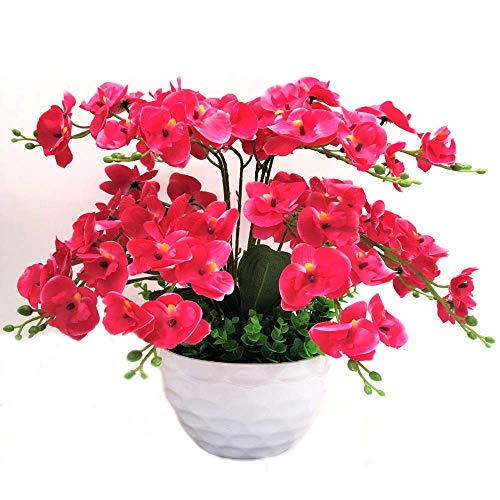 SISHUINIANHUA Farfalla Orchidea Fiori Decorativi e Ghirlanda di Fiori Artificiali Bonsai Set Fiori Finti Alberi con Vaso,a