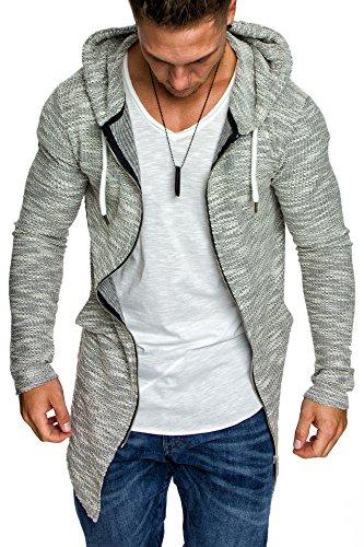 Amaci&Sons Herren Kapuzenpullover Zipper Sweatshirt Hoodie Sweatjacke Pullover 4016 Grau M