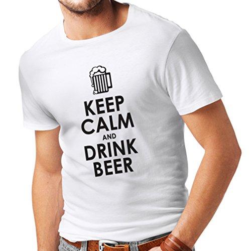 Männer T-Shirt Behalten Sie Ruhe und Getränk Bier - Getting betrunken, lustige Zitate Alkohol Geschenke (Small Weiß Schwarz)