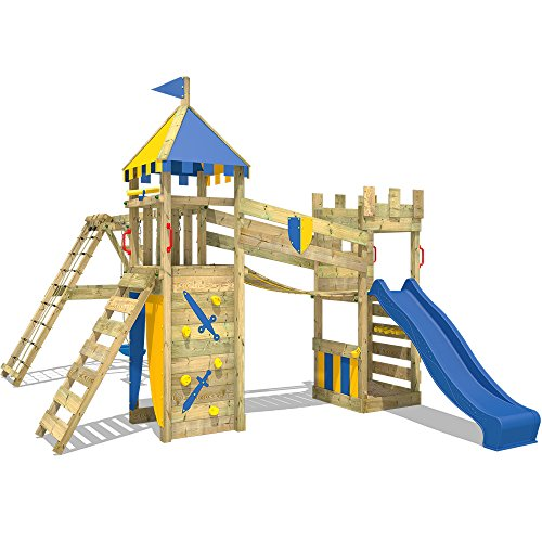WICKEY Spielturm Smart Legend 120 Kletterturm Spielplatz Ritterburg mit Schaukel und Rutsche, Sandkasten, Kletteranbau und Wackelbrücke