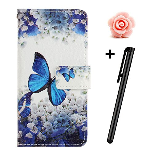 Custodia iPhone 7, custodia iPhone 7S a portafoglio, prodotto Toyym di alta qualità, decorazione con fiori/animali/personaggi, in ecopelle [chiusura magnetica] con tasche per carte, per iPhone Apple 7 Blue Butterfly