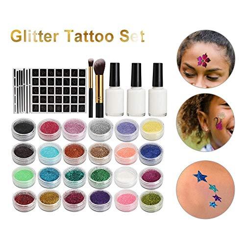 Ploufer Conjunto de Tatuaje Temporal con Brillo, Tatuaje de Arte Corporal Impermeable semipermanente, Respetuoso con la Piel, Conjunto de Brillo con 24 Colores Pintados de 118 Patrones para Fiesta