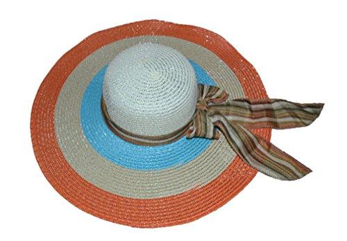 Pisco 'Fashion femmes paille chapeau avec nœud mixed-color Plage Summer Sun chapeaux (4couleurs & # enduit; bleu orange