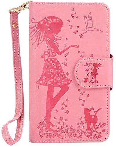 Nnopbeclik Flip Leder Hülle Für Apple Iphone 5 /5S /SE, Folio PU Leather Wallet Blume Case mit Karte Halter-Magnetverschluß-Klappbar Stand, Drucken Mädchen-Blume-Tier-Vogel Niedlich Karikatur Cartoon  Pink