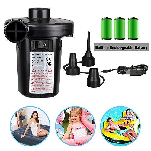 POMISTY Elektrische Luftpumpe, 3 in 1 USB Elektrische Pumpe Multifunktion Elektropumpe mit 3 Luftdüse Kompressor für Luftmatratzen, Schlauchboote, Gästebetten, Aufblasbare Schwimmtiere Oder Camping