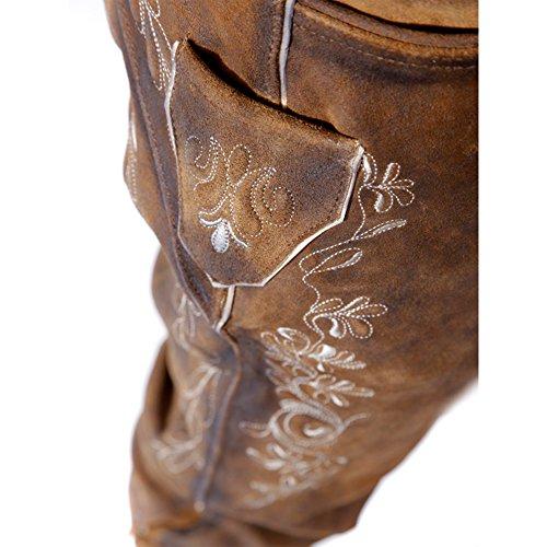 ALMBOCK Lederhose Herren Tracht Kniebund | Lederhose Herren braun aus feinem und antikem Nubukleder | Trachtenhose alt Herren - Trachtenlederhose 52 - 5