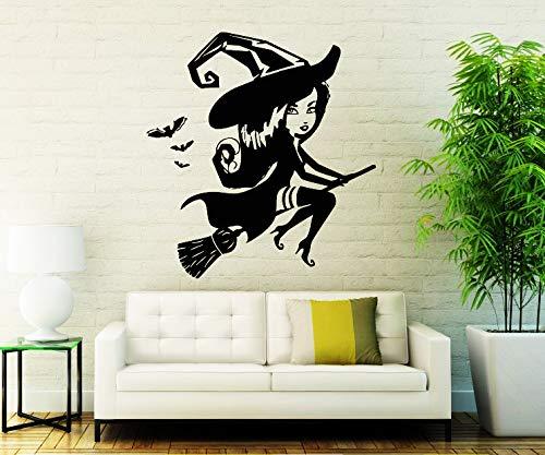 Happy Halloween Nette Wandaufkleber Kleine Hexe Vinyl Wandtattoo Home Wohnzimmer Spezielle Decor Wall Poster Decals Wm 71x75 cm (Tote Halloween Krankenschwester)