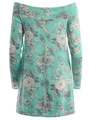 Chocolate Pickle ® Nouveau Femmes Encolure bateau manches longues Floral Robe trapèze Top 36-50 Mint Foral