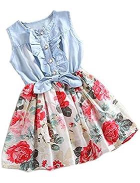 Vestido de niña, Xinan Bebé Niña Flor Impresión Sin mangas Mezclilla Vestidos