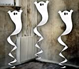 Feste Feiern Halloween Deko I 3 Teile Deckenhänger Spiralen Swirl Geister Weiss Metallic Happy Horror Grusel Party