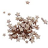 #10: Baoblae Pack of 100 Assorted Size Wooden Shape Unfinished Stars Embellishments for Scrapbooking Crafts