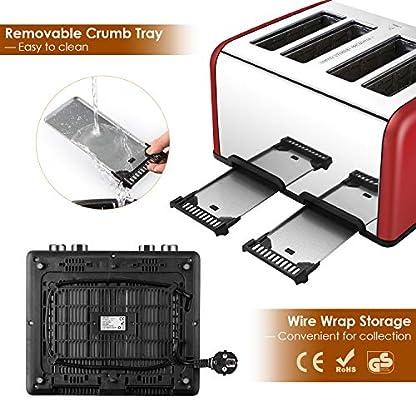 REDMOND-Toaster-4-Scheiben-Brtchenaufsatz-1650W-Edelstahl-Toaster-mit-6-Brunungsstufen-Brotzentrierung-AufwrmAuftauAbbruch-Funktionen-Abnehmbarer-Krmelschublade