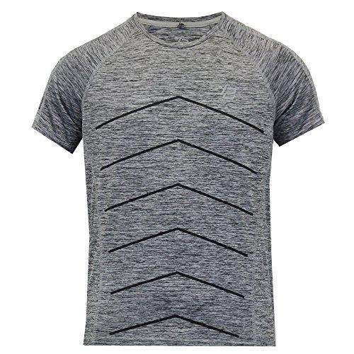 Herren Kurzärmelig Licht Reflektierend Laufen/Gym T Shirt By Threadbare Grau - MMU149PKA