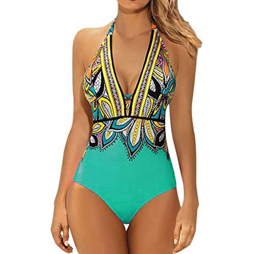 VBWER Damen Badeanzug Einteilige Blumen Bademode Figurformend Strandmode SportStrand Bikini Tiefer Bikini mit V-Ausschnitt