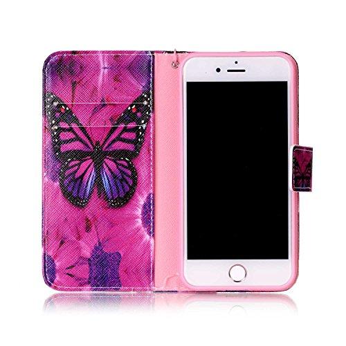 iPhone 7 4.7 Custodia,Feeltech alta Qualità Colorato Modello Sottile Foglio Cuoio PU Portafoglio con [Free 2 in 1 Penna Dello Stilo] Interno TPU Bumper Funzione Dello Stand [Slot per Schede][Chiusur Farfalla rossa