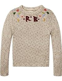 Scotch & Soda Mädchen Embroidered Crew Neck Pullover