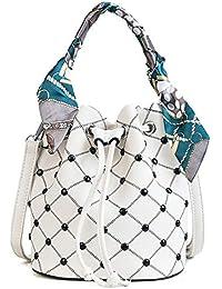 1716c05a965f5 ZLULU Damen-Schultertaschen Damenhandtaschen Tasche Weibliche Farbe Nähen  Nähgarn Niet Band Schulter Tragbare Diagonale Eimer…