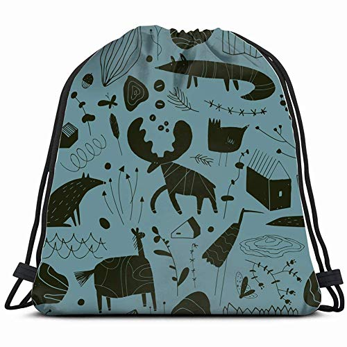 DHNKW Seamless Cute Pattern Animals Plants Rocks Backgrounds Textures Crane Nature Drawstring Backpack Bag Men & Women Sport Gym Bag