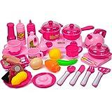 OviTop - Kochgeschirr Kinder - 33er Set Kinderküchen Zubehör - Rollenspiel - Kinderküchen Spielzeug Lebensmittel - Frühkindliche Bildung (Rosa)