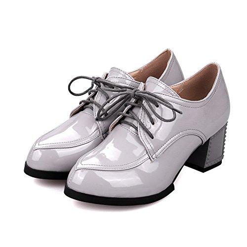 AllhqFashion Damen Hoher Absatz Rein Schnüren Lackleder Spitz Zehe Pumps Schuhe Grau