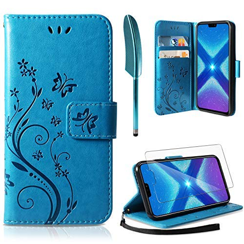 AROYI Lederhülle Huawei Honor 8X Flip Hülle, Honor View 10 Lite/Honor 8X Wallet Case Schmetterling Blumen Muster Handyhülle PU Leder Tasche Case Kartensteckplätzen Schutzhülle für Huawei Honor 8X Blau