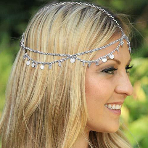 Quaste Kopf Kette für Frauen Mädchen   Mehrschichtige Bohemian Kopfkette Haarschmuck   Schmuck Kette Stirnband Pailletten Stück Haarband   Legierung Boho Stück   Bridal Kopfschmuck---- (Silber)