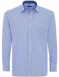 Eterna Herrenhemd Herren Baumwoll Hemd Baumwollhemd Business Freizeit Langarm Comfort Fit Blau Weiß gestreift