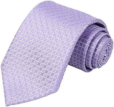KissTies - Corbata para hombre, color sólido, diseño de cuadros, con caja de regalo