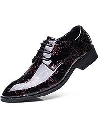 LEDLFIE Chaussures en Cuir pour Hommes Confortables Chaussures de Lacage Respirant Laçage,Blue-38