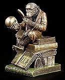 Affe mit Schädel - Darwinismus Evolutionstheorie | Veronese Figur Statue Bronze-Optik