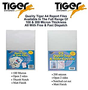 Tiger A4 report files open top and side covers - pack of 25 pockets