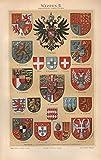 Wappen II; San Marino, Serbien, Portugal u.a. - Antiquarische Lithografie (Sammlerstück) von 1897