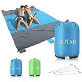 U-HOME stranddecke sandfrei, 210 x 270cm Picknickdecke Campingdecke Strandtuch für Outdoor Reisen Wandern Camping Picknick, Blau