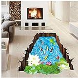 Bovake DIY Fishponds 3D-Badezimmer-Wand-Aufkleber Anti Rutsch-Boden Wohn Lotus Goldfish Muster wasserdicht Dekor