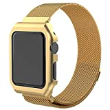 Cinturino Apple Watch Pinhen, serie 1 e 2, chiusura a magnete unico, in acciaio Inox, tutti i modelli, fibbia non necessaria, 42MM Gold