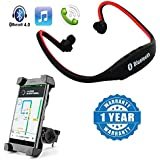 Drumstone Wireless Bluetooth BS19C In-Ear Sports Headset With Universal Bicycle Mount Mobile Holder Compatible With Xiaomi, Lenovo, Apple, Samsung, Sony, Oppo, Gionee, Vivo Smartphones (One Year Warranty)